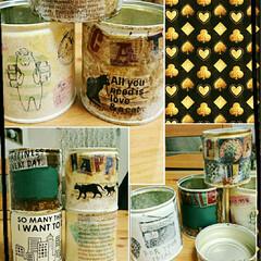リメ缶/ステンシル/雑貨/100均/セリア/ダイソー/... みかんの缶詰め&ツナ缶… をデコ♥  1…