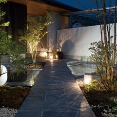 LIXIL/リクシル/庭/ガーデン/庭照明/ガーデンライト/... ♪庭の施工事例♪⠀⠀ 光で彩られた夜のア…