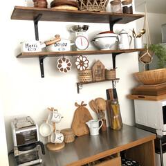 編み物/食器棚/キッチン棚/キッチン雑貨/DIY/雑貨/... キッチン棚の寄った写真です。たまにここの…