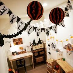 ハロウィン/かぼちゃ/ガーランド/キッズルーム/DIY/キャンドゥ/... 今年のハロウィンの飾り付け完了しました🎃…