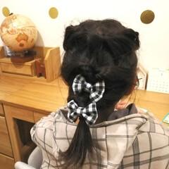ヘアゴム/地球儀/デスク /机周り/ギンガムチェック/IKEA/... 今日は新しいヘアゴム作って、娘につけても…
