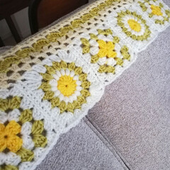 毛糸 ハマナカ ボニー 405.ベビーピンク _b1_(毛糸)を使ったクチコミ「モチーフ編み、少し進みました。 暑苦しく…」