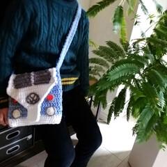 リミアな暮らし/手作り/ファッション/観葉植物/インテリア/アクリル毛糸/... 息子のポシェット編みました。 歪んだり失…