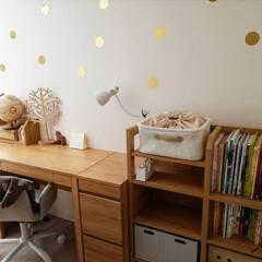 キッズスペース/子供部屋/デスク周り/学習机/ナチュラル/インテリア/... 学習机のセットは2年前、ニトリのモニター…(3枚目)