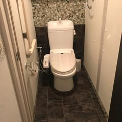 暮らし/トイレ/セルフリノベーション/タイル/モザイク/DIY/... トイレ DIY その③  フロアマットの…