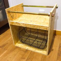 ストック置き場/シンク下収納/OSB合板/DIY収納 OSB合板でシンク下の洗剤ストック置き場…