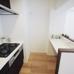 キッチン/カウンター/収納 キッチンカウンターを造作し、家事をしやす…