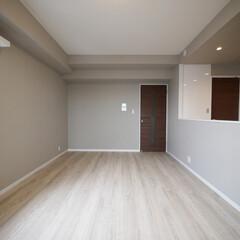 フローリング/リビングダイニング/モダン/グレーの壁 淡い木目のフローリングにグレーの壁と白い…
