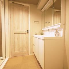 洗面室/織物調/床材 新感覚の織物調ビニール素材を使用した洗面…