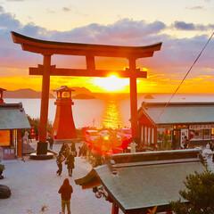 初詣/2019年/あけおめ/冬 私の大好きな夕陽スポットです⛩ 何ともあ…