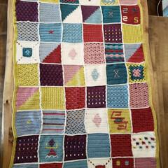 モチーフ編み/かぎ針編み/ブランケット/ハンドメイド モチーフ編みをつなげて、ブランケットを作…