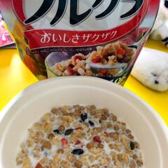 カルビー フルグラ 50g/袋 1ケース(バランス栄養、栄養調整食品)を使ったクチコミ「フルグラ🍓🍑🍐  最近シリアルにハマって…」