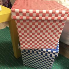 カラフル/チェック柄/収納BOX/フライングタイガーコペンハーゲン/LIMIAインテリア部 フライングタイガーで買った収納BOX ポ…