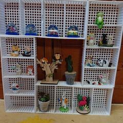 ダイソーのラック4個、細い結束バン.../生活の知恵/収納/雑貨/インテリア/100均/... 小さい飾りを入れて見ました。ハンドメイド…