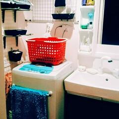 棚受け金具/つっぱり棒/結束バンド/ワイヤーネット/賃貸/洗濯機/... 過去の家の洗面所の収納。 左はダイソーの…