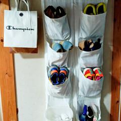 ウォールポケット/靴棚/リサイクル/リメイク/収納/雑貨/... 実家の玄関に作り付けの靴棚があるのですが…