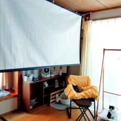 メラミンスポンジ/プロジェクター/至福のひととき/LIMIAインテリア部/DIY/暮らし/... 自室にプロジェクターを設置。プロジェクタ…
