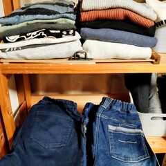 DIY/ウッドラック/収納/衣類/セリア/100均/... 自室のウッドラックがイマイチ使いづらかっ…