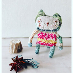 手編み/あみもの/あみぐるみ/ペット/猫 Love Cat うちの愛猫レンさんをモ…