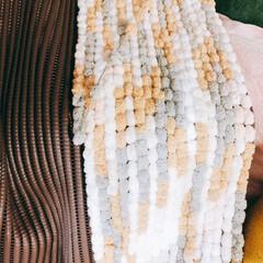 カラフル/滑り止めシート/もこもこ/モコモコ/玄関マット/ハンドメイド/... ダイソーの毛糸で作るマット🧶 うちもやっ…