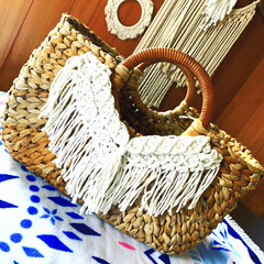 カゴバッグ/かごバッグ/マクラメ/マクラメ編み マクラメカゴバッグ