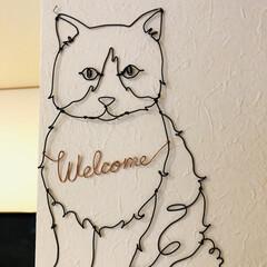 Welcomeボード/ワイヤーアート/猫/動物モチーフグッズ/雑貨/暮らし 以前、メルカリで見つけた にゃんこのワイ…