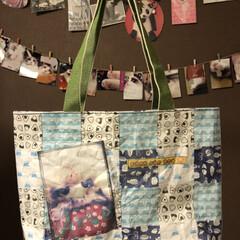 猫/トートバッグ/折り紙/ダイソー/セリア/100均/... 折り紙トートバッグ 出来ました♪  😼ア…