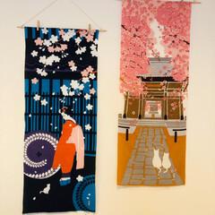 桜/濱文様/絵手拭い/猫/暮らし リビングの絵手拭い、4月桜バージョンに変…