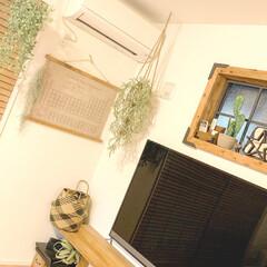 ハンギンググリーン/テレビボードDIY/カフェ風インテリア/男前インテリア/セルフリノベーション/窓枠/... 我が家のテレビ周辺です! チラッと写って…