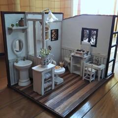 1/12ドールハウス/ドールハウス手作り/ミニチュアハウス/DIY 縦21横30ほどのミニチュアドールハウス…