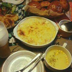明日がパーティー/カープ坊や、、、?/スポンジケーキ焼いた/カレーコロッケ/豆腐とハムのグラタン/夕ごはん/... こんばんは🎵  赤いキッチンより  今日…