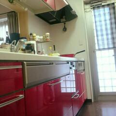 大好きな場所/赤いキッチン/ただいま🏠✨ こんにちは🍀  今日もお疲れ様です🎵  …