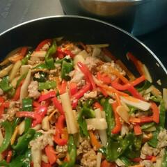 赤いキッチン/夕ごはん/青椒肉絲/チンジャオロース/人気メニュー 赤いキッチンより 今日の夕ごはん。   …