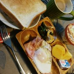 朝食/楽しく/ワンプレート/朝ごはん 朝ごはん。  みんなでしっかりいただきま…