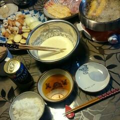 お酒がすすむ/卓上フライヤー/エビフライ/セルフ天ぷら 今日の夕ごはんは、 セルフ天ぷら&エビフ…