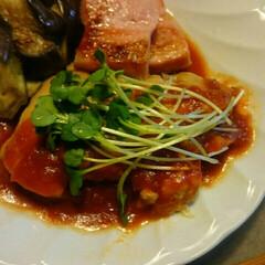 曇/トマトソース/チキンステーキ/昨日の夕飯/赤いキッチン/キッチン おはようございます☺  赤いキッチンより…