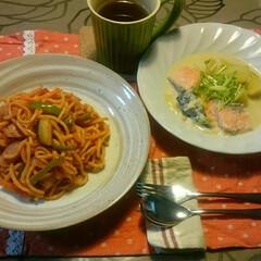 中学校楽しみだね🌼/鮭とさつまいものクリーム煮/ナポリタンスパゲティ/赤いキッチン/わたしのごはん こんばんは☺  赤いキッチンより。  今…