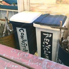 生活雑貨 プラスチックのゴミ箱を見せるゴミ箱にリメ…