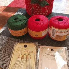 あけおめ/おうち/猫/ハンドメイド/100均/ダイソー 🤔🍓ちゃんカバーもぅ1つ編み編みしてみる…