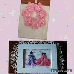 折り紙/お雛様/編み物の花リース/ピンク/ハンドメイド 編み溜めていた小花繋げてリースにしてみま…