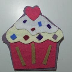 フェルト フェルトでカップケーキ(1枚目)