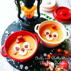 デザート/おやつ/ディズニー/ダッフィー/かぼちゃプリン/ハロウィン/... 🎵セリアのボヌールを使ってハロウィンスイ…