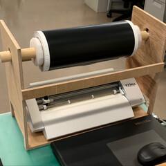 机上/事務/手作り/省スペース/収納/ロール紙/... 職場にあるカッティングプリンターにはカッ…