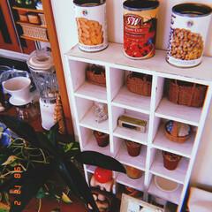 ボックス/木製/カルディ/雑貨/インテリア/家具/... 木製ボックスを 小さな飾り棚に✨  カル…