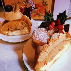 ケーキ/ブッシュドノエル/クリスマス/フード/グルメ ブッシュドノエル✨ ○ 丸と、△ 三角 …