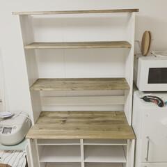 コーナン/手作り/3段ボックス/食器棚/DIY/キッチン/... カラーボックスにSPF材の1×4をつけて…