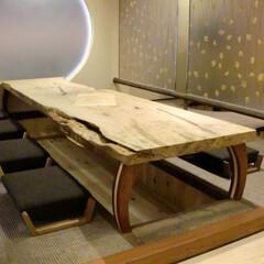 店舗/和室/座卓/クリ材 穴あり、虫食いの跡有の一枚板を上手のアレ…