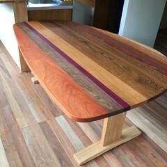 ダイニングテーブル/ダイニング/接ぎ合わせ/高さ低め/テーブル高63cm/木の組み合わせ/... 家でカフェ気分が楽しめる高さ630mmの…