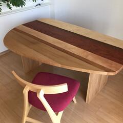 ダイニングテーブル/ダイニング/接ぎ合わせ/高さ低め/テーブル高64cm/木の組み合わせ/... 家でカフェ気分が楽しめる高さ630mmの…