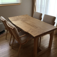 ダイニングテーブル/ダイニング/4人掛け/クリ材/一枚板/オイル塗装 巾750mmのダイニング。でも、国産のク…